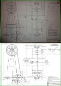 перевод чертежа формата А1 в электронный вид - система контроля усилия в грузовых канатах.