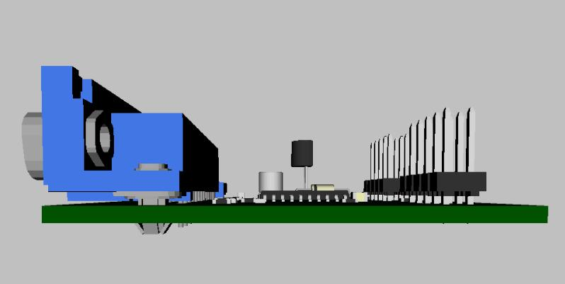 3D модель платы программатора - вид сбоку