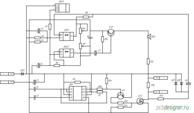 Принципиальная электрическая схема металлоискателя Пират