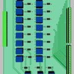 3D вид верхней стороны печатной платы реле