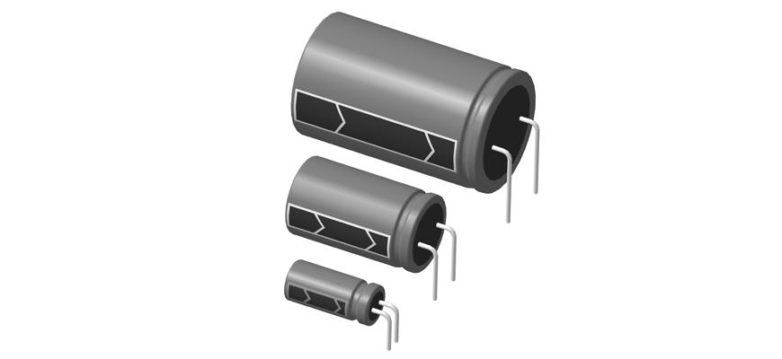 3D step модели алюминиевых электролитических конденсаторов горизонтальной установки на печатную плату