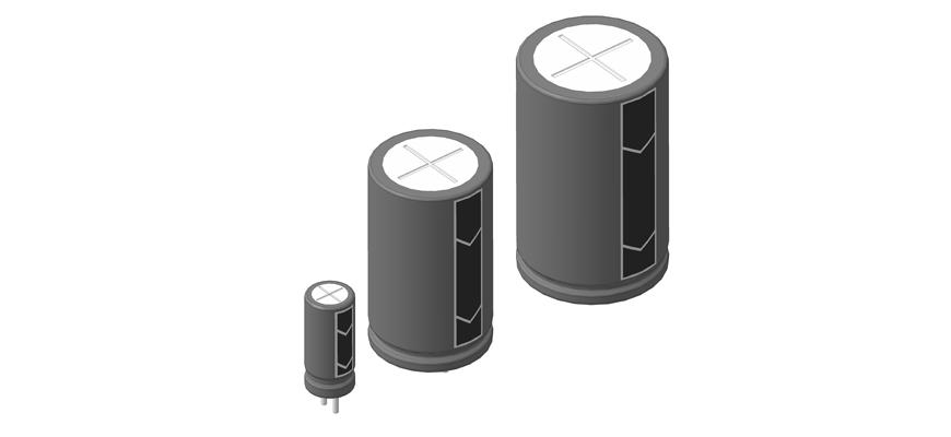 3D модели алюминиевых электролитических конденсаторов