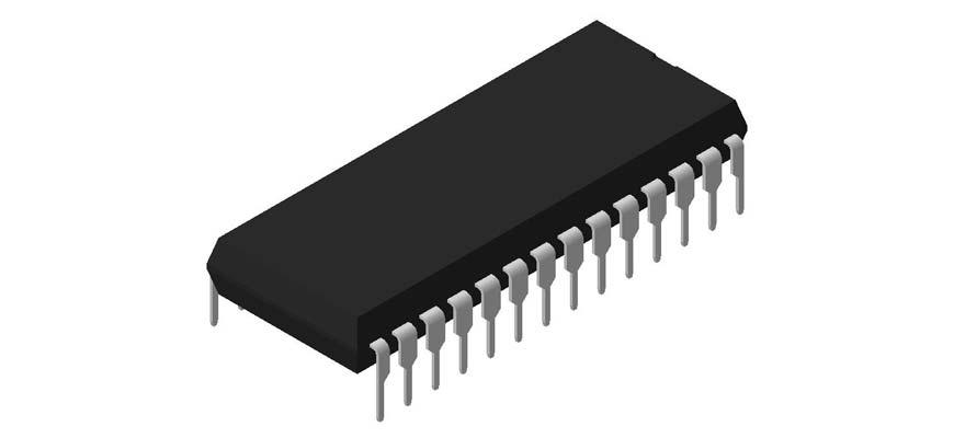 3D модель корпуса DIP-28P-M05