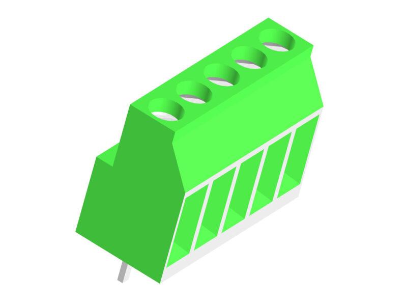 3D модель винтового клеммного соединителя (5 pin)