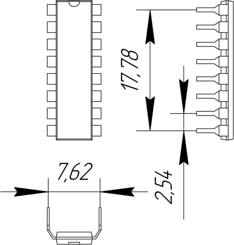 Основные размеры корпуса DIP-16