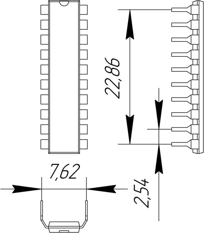 Основные размеры корпуса DIP-20