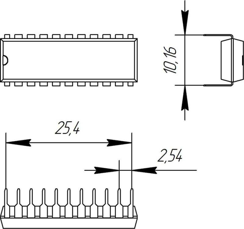 Основные размеры корпуса DIP-22P-M03