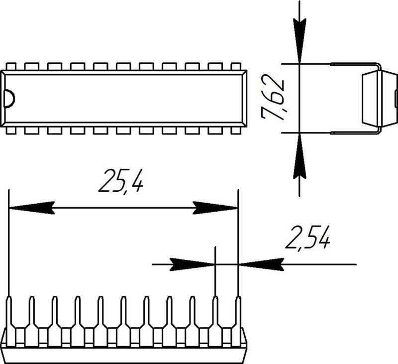 Основные размеры корпуса DIP-22P-M04