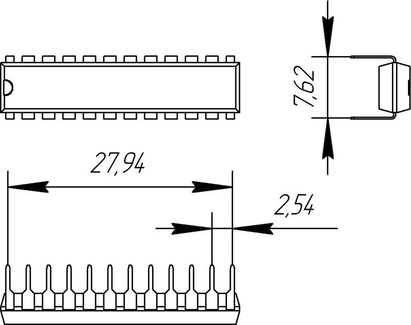 Основные размеры корпуса DIP-24P-M03