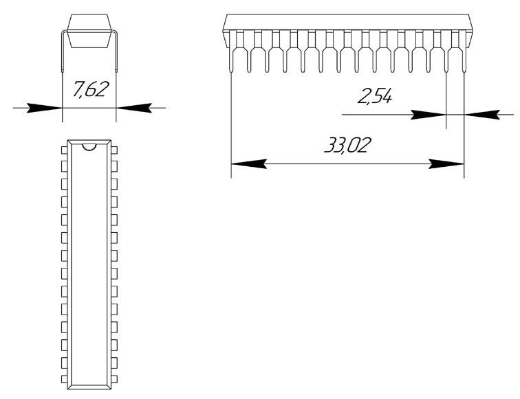 Основные размеры корпуса DIP-28P-M04