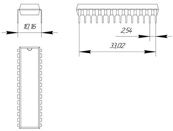 Основные размеры корпуса DIP-28P-M06
