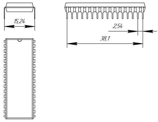Основные размеры корпуса DIP-32P-M01