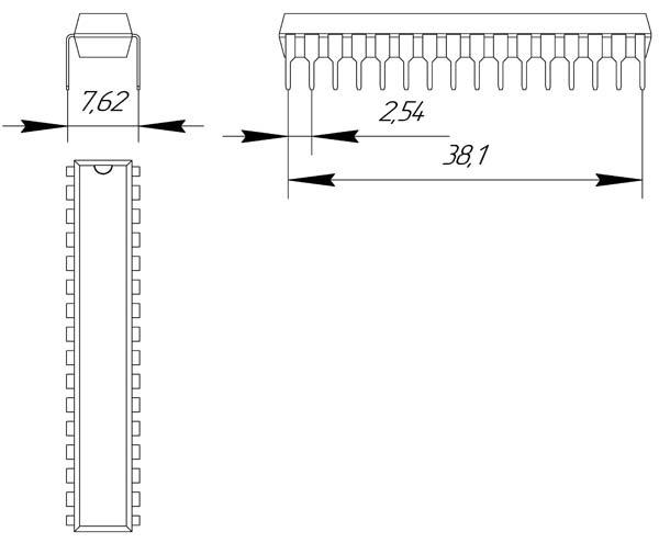 Основные размеры корпуса DIP-32P-M02