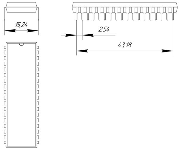 Основные размеры корпуса DIP-36P-M01