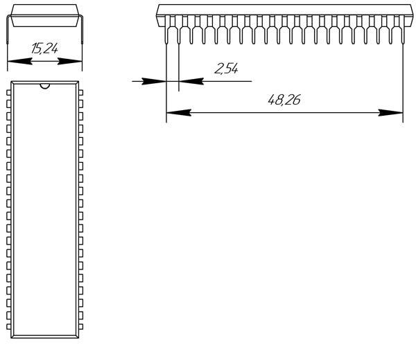 Основные размеры корпуса DIP-40P-M02
