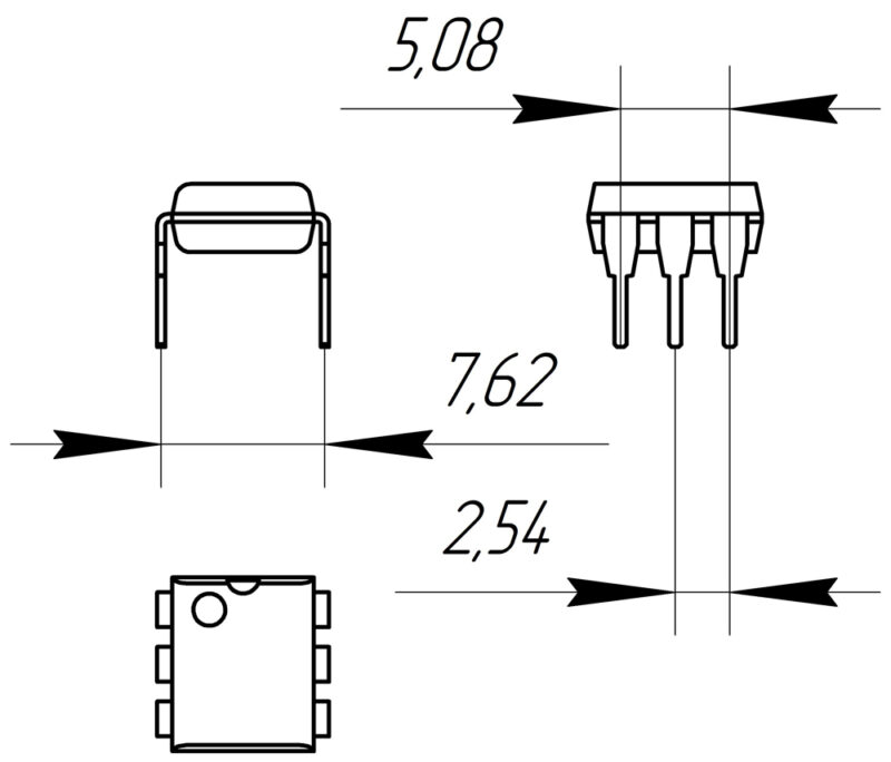 Основные размеры корпуса DIP-6