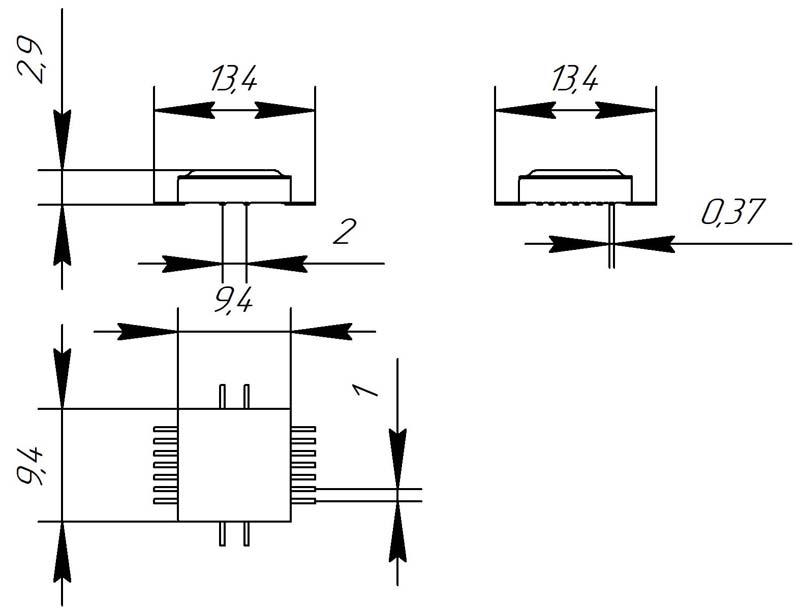 Основные размеры корпуса Н09.18-1В