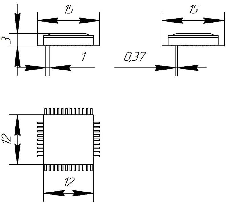 Основные размеры корпуса Н14.42-1В