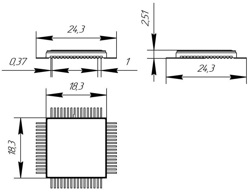 Основные размеры корпуса Н18.64-1В