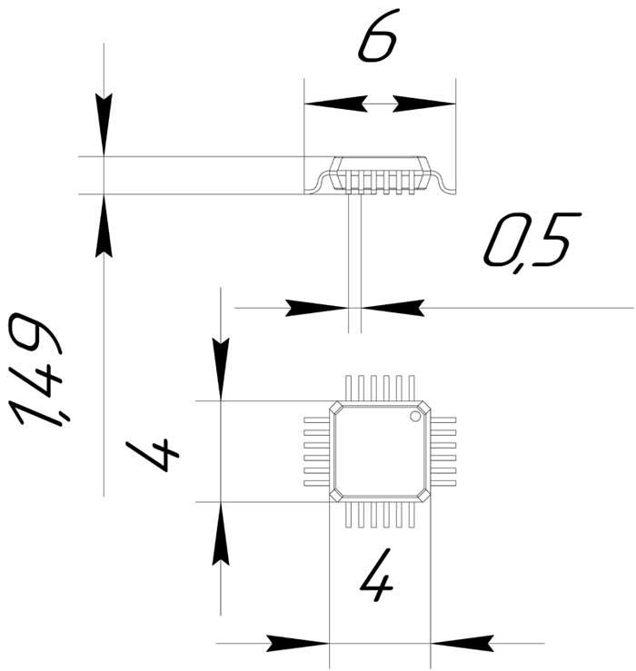 Основные размеры корпуса QFP